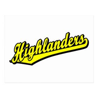 Highlanders script logo in Yellow Postcard