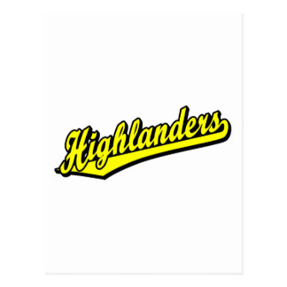 Highlanders script logo in Yellow Post Card