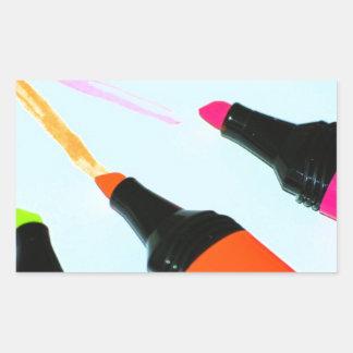 HIGHLIGHTER PENS Neon PINK ORANGE GREEN LIME SCHOO Rectangle Sticker