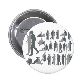 Highly detailed couple silhouettes pinback button