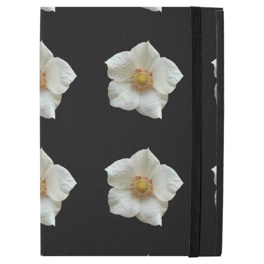 Highly Detailed White Flowers on Black iPad Pro