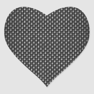 Highly Realistic Carbon Fiber Textured Heart Stickers