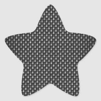 Highly Realistic Carbon Fiber Textured Star Sticker