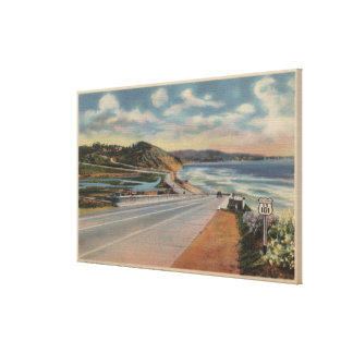 Highway 101 on the Coast of California ViewState Stretched Canvas Print