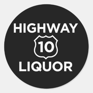 Highway 10 Liquor Round Sticker