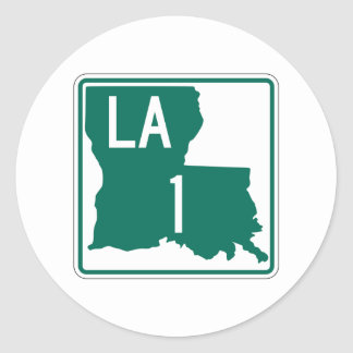 Highway 1, Louisiana, USA Classic Round Sticker