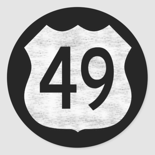 Highway 49 Route Sign Round Stickers