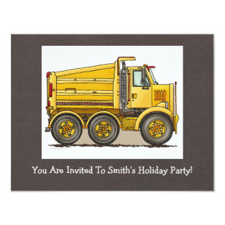 Highway Dump Truck 4.25x5.5 Paper Invitation Card