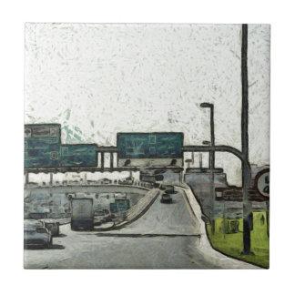 Highway in Dubai Small Square Tile