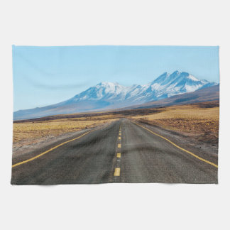Highway landscape tea towel