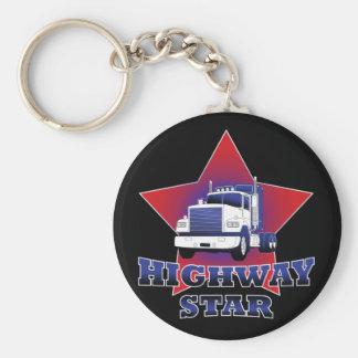 Highway Star Trucker Basic Round Button Key Ring