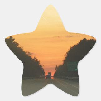 Highway sunset vanishing point star sticker