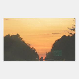 Highway sunset vanishing point rectangular sticker