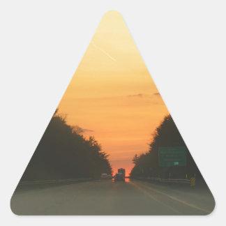 Highway sunset vanishing point triangle sticker