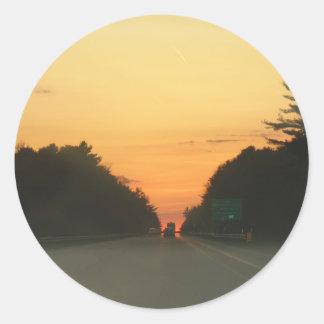 Highway sunset vanishing point classic round sticker