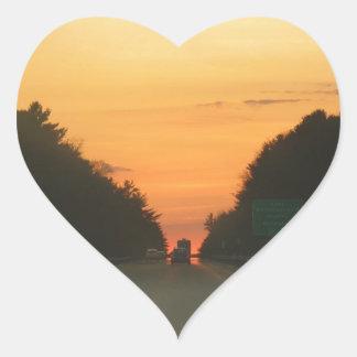 Highway sunset vanishing point heart sticker