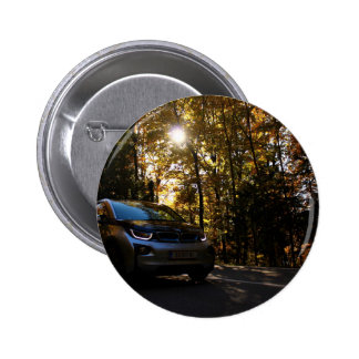 Highway Themed, A Hybrid Car On A Highway Passing 6 Cm Round Badge