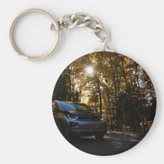 Highway Themed, A Hybrid Car On A Highway Passing Basic Round Button Key Ring