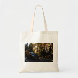 Highway Themed, A Hybrid Car On A Highway Passing Budget Tote Bag