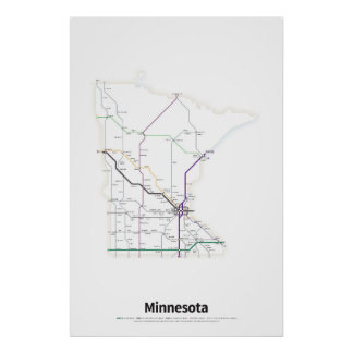 Highways of the USA - Minnesota Poster