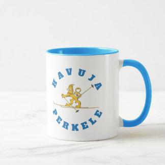 Hiihtävä suomileijona, pipo, havuja perkele - muki mug
