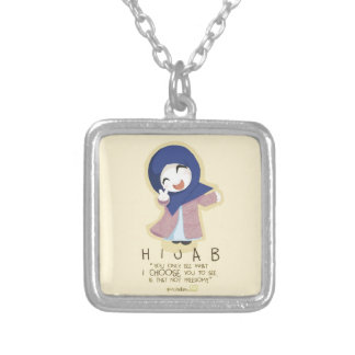 Hijab is Freedom Square Pendant Necklace