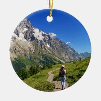hiker in Ferret Valley, Italy Round Ceramic Decoration