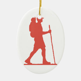 Hiker in Pink Christmas Ornament