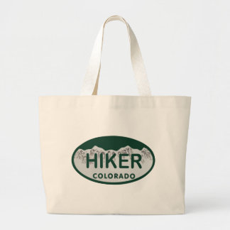 Hiker license oval tote bags