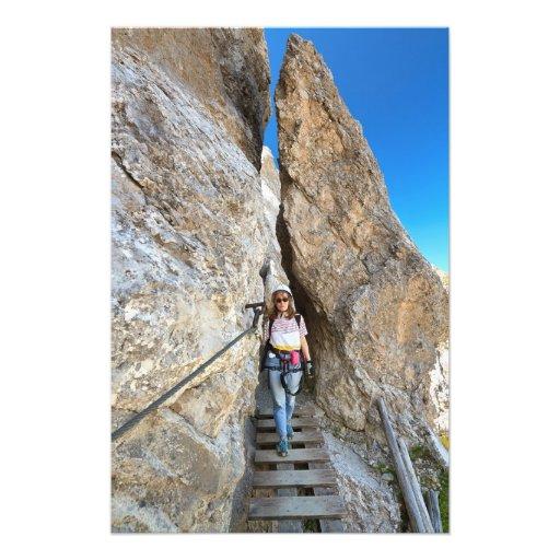 hiker on via ferrata photo art