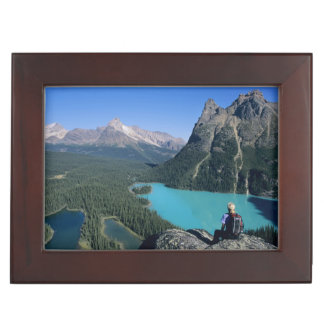 Hiker overlooking turquoise-colored Lake Keepsake Box