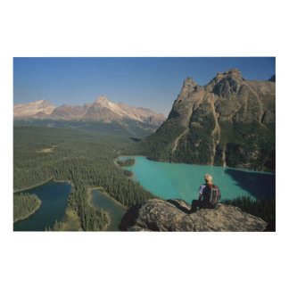 Hiker overlooking turquoise-colored Lake Wood Print