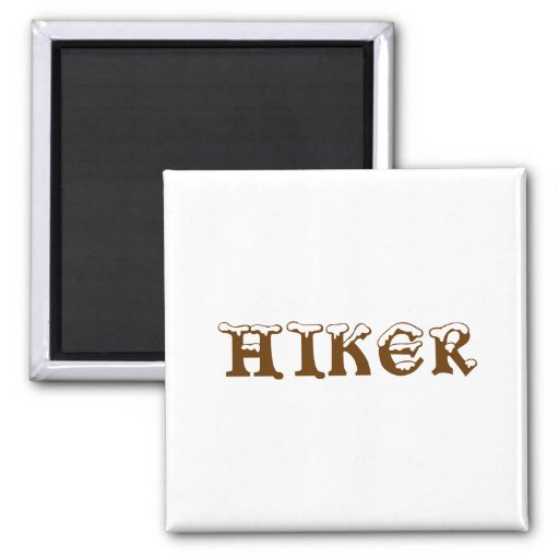 Hiker. Snow Top Letters. Brown and White. Magnets