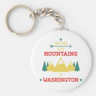 Hiking and Camping in Washington Basic Round Button Key Ring