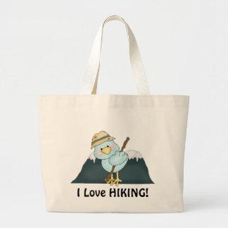 Hiking Bird cartoon tote bag