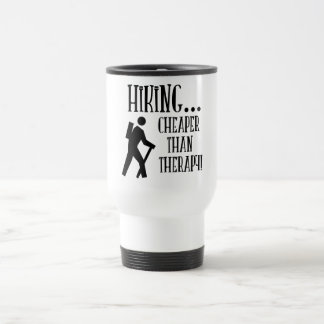 Hiking, Cheaper Than Therapy Stainless Steel Travel Mug
