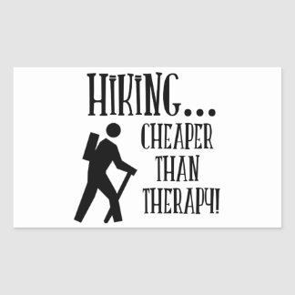 Hiking, Cheaper Than Therapy Rectangular Sticker