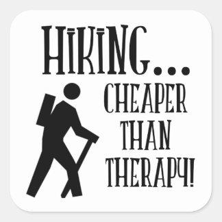 Hiking, Cheaper Than Therapy Square Sticker