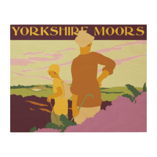 Hiking, fellwalking in the Yorkshire Moors retro Wood Wall Decor