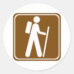 Hiking Highway Sign Round Sticker