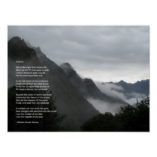 Hiking in the clouds- Invictus poem poster