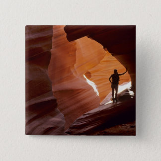 Hiking in the Corkscrew section of Antelope 15 Cm Square Badge