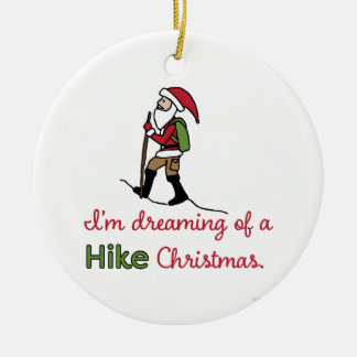 Hiking Santa Christmas Ornament