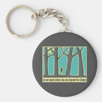Hiking through Forest Trees Basic Round Button Key Ring