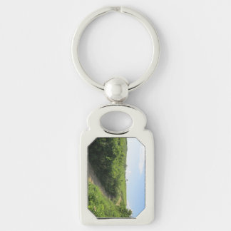 Hiking Trail Silver-Colored Rectangle Key Ring