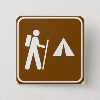 Hiking Trail with Camping Highway Sign 15 Cm Square Badge