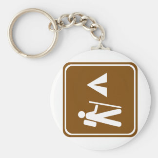 Hiking Trail with Camping Highway Sign Key Chain