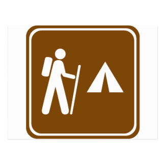 Hiking Trail with Camping Highway Sign Postcard