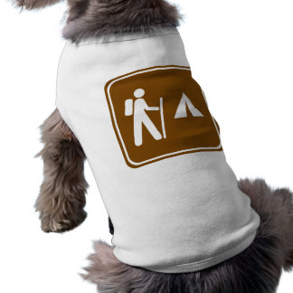 Hiking Trail with Camping Highway Sign Sleeveless Dog Shirt