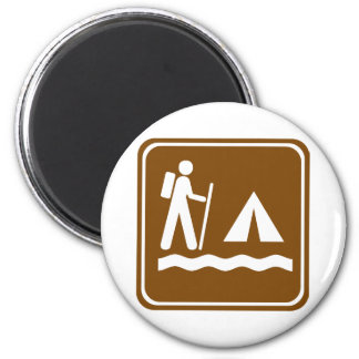 Hiking Trail with Lakeside Camping Highway Sign Magnet